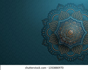 Arabesque motif design background in blue and bronze tone
