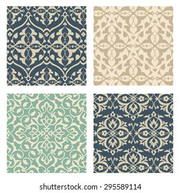 Arabesque Pattern Set - Set of 4 Arabesque Patterns.  Colors are global for easy editing.  Seamless pattern tiles are included in swatches window.