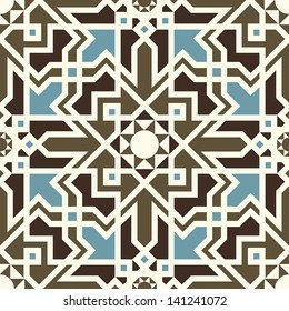 Arabesque seamless pattern in blue and brown in editable vector file