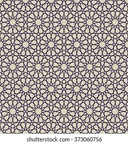Arabesque. Seamless pattern in Moroccan style. Mosaic tile. Islamic traditional ornament. Geometric background. Vector illustration.