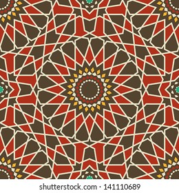 Arabesque seamless pattern in red and brown in editable vector file