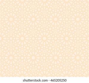 Arabesque Seamless Pattern Vector in Light Brown