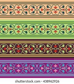 Arabesque set. Seamless pattern in Moorish style. Arab element of design. Islamic  border.