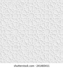 Arabesque Star Pattern with Grunge Light Grey Background, Vector Illustration