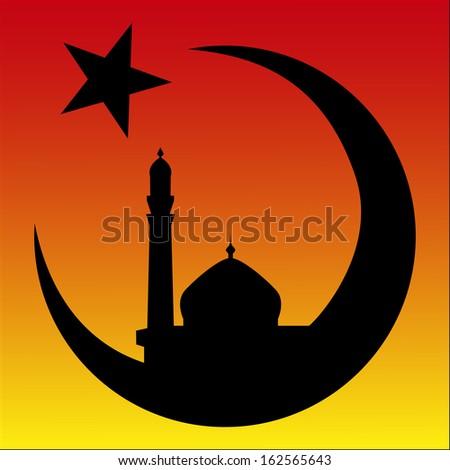 Arabesque Sunrise Mosque Symbol Islam Vector Stock Vector Royalty