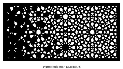 Arabesque vector gradient panel. Laser cutting. Template for interior partition in arabic style. Ratio 1:2