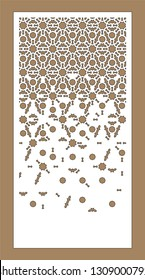 Arabesque vector panel. Laser cutting. Art gradient sheet.Template for interior partition in arabic style. Ratio 1:2