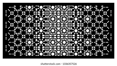 Arabesque vector panel. Laser cutting. Template for interior partition in arabic style. Ratio 1:2