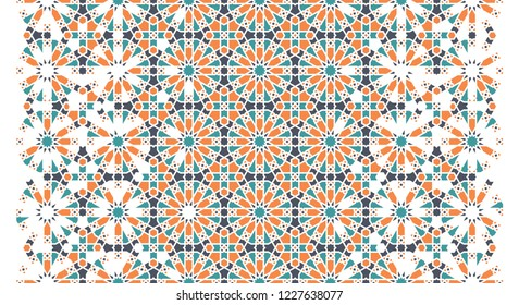 Arabesque vector seamless pattern. Geometric halftone texture with color tile disintegration or breaking