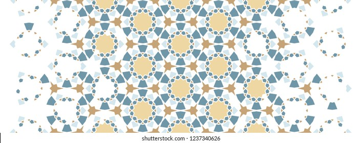 Arabesque vector seamless pattern. Geometric texture with color tile disintegration or breaking
