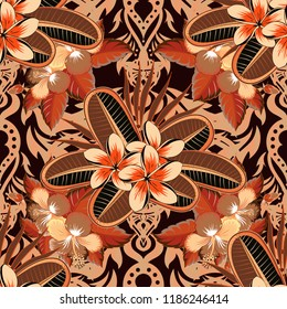 Arabesque. Vintage abstract vector floral seamless pattern in brown, orange and black colors. Intersecting curved elegant stylized plumeria flowers, leaves and scrolls forming abstract floral ornament