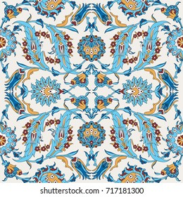 Arabesque vintage decor floral ornate pattern for design template vector. Eastern motif Painting flowers decoration. Ornamental illustration for invitation, greeting card, wallpaper, wedding, wrapping