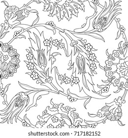 Arabesque vintage decor floral ornate pattern for design template vector. Oriental motif. Doodle outline flowers decoration print. Ornamental illustration invitation, greeting card, wedding, wrapping