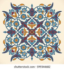 Arabesque vintage elegant floral decoration print for design template vector. Eastern flowers style pattern. Ornamental illustration for invitation, greeting card, wallpaper