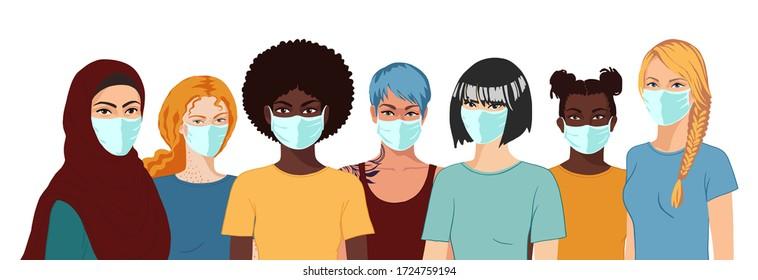Arabische, afrikanische, asiatische, europäische, latino Frauen mit medizinischen Masken. Realistisches Gruppenportrait auf weißem Hintergrund. Flachhandgezeichnete Vektorgrafik.