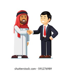 Arabian & asian man standing together shaking hands. Successful business deal, agreement or international partnership. Formal meeting between two multi ethnic partners. Flat style vector illustration.