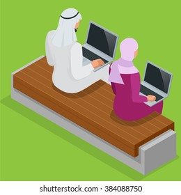 Arabian business man working on Laptop. Arab businesswoman hijab working at a laptop. Vector flat 3d isometric illustration