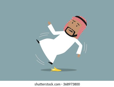 Arabian businessman in national costume slipped on a banana peel and falling down, waving hands in the air. Accident, injury and banana slip concept design
