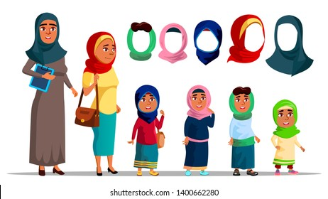 Arabian Characters Women Wearing Hijab Vector. Religion Muslim Adult Female And Little Girl Children With Fashion Eastern Multicolored Hijab Headscarf. Colorful Flat Cartoon Illustration