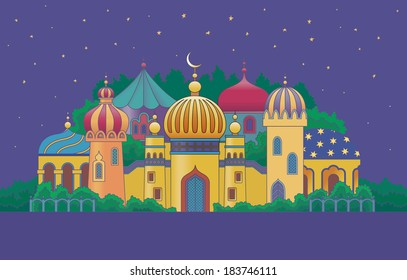 Arabian city with character buildings at the night