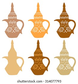 Arabian Coffee Pot, vector, isolated