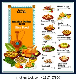 Arabian cuisine traditional food menu. Vector Eastern dishes of lamb skewers, baked chicken biriyani or kunafa and stuffed potatoes with meat, maskuf or pea hummus and shortbread with sweet dumplings