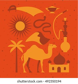 Arabian desert, vector flat illustration, icon set, poster, sand texture: palm tree, camel, temple, hookah, snake, dune, sun, knife, magic