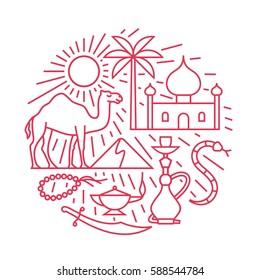 Arabian desert, vector outline illustration, icon set, travel background. Camel, sun, palm tree, mosque, snake, hookah, magic, beards, knife