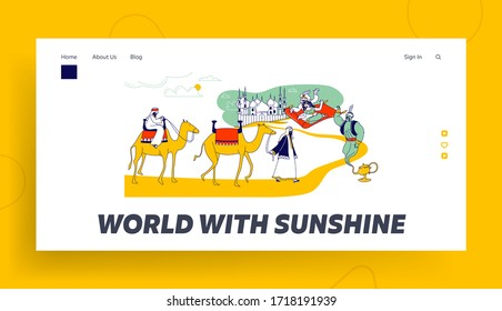 Arabian Fairytale Fantasy Landing Page Template. Aladdin and Jasmine Princess Characters Fly on Carpet in Desert, Camel Caravan, Arab Merchant and Geine in Wish Lamp. Linear People Vector Illustration