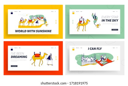 Arabian Fairytale Landing Page Template Set. Fantasy Personages Aladdin and Jasmine Princess Characters Flying on Carpet in Desert, Camel Caravan, and Geine in Lamp. Linear People Vector Illustration