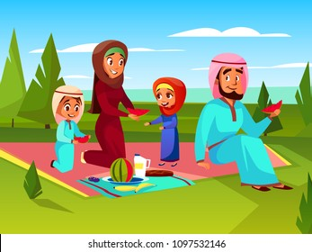 Arabian family at picnic vector cartoon illustration. Saudi Muslim father and mother in khaliji with children boy and girl together sitting at outdoor summer picnic plaid and eating watermelon