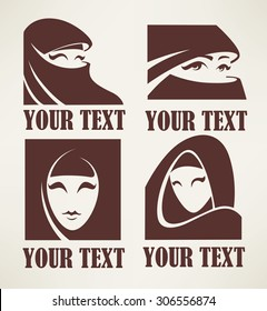 Arabian girls logo emblems and symbols collection