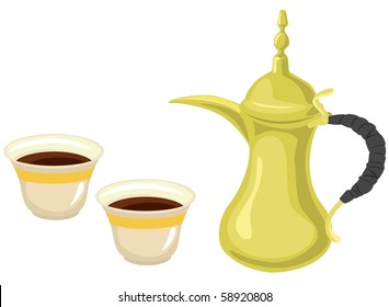 Arabian Golden Coffeepot & Coffee Cups-vector