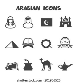 arabian icons, mono vector symbols
