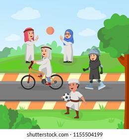 Arabian Kids Playing Together in Garden Carton Vector Illustration