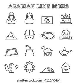 arabian line icons, mono vector symbols