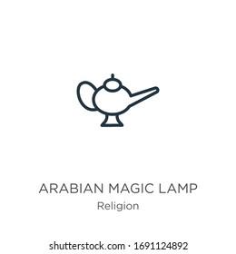 Icône lampe magique arabe. Icône de contour d'une lampe magique arabe linéaire mince isolée sur fond blanc de la collection de religions. Signe vectoriel en ligne, symbole pour le web et le mobile