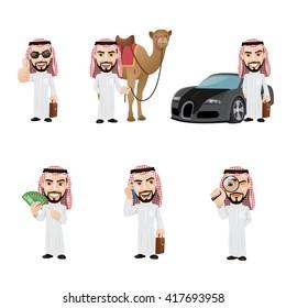 Arabian Man Character Set. Rich Arab Man with Car and Camel.