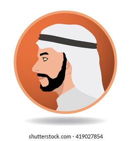 arabian man profile icon, face as seen from the side, avatar, vector illustration
