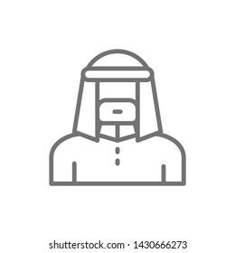 Arabian man in traditional national dress, bedouin line icon.