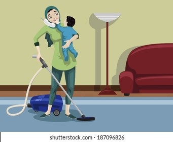 Arabian Mother Cleaning Her House-vector