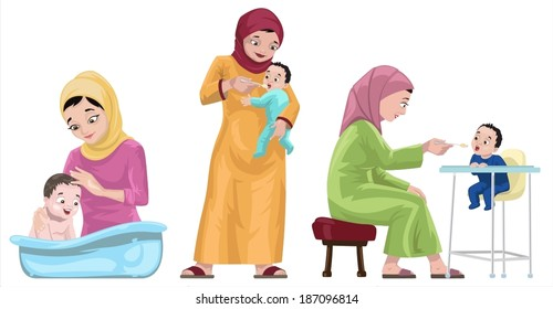 Arabian Mothers With Their Kids-vector
