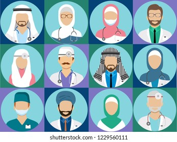 Arabian muslim medical staff avatars. Doctor and physician, surgeon and nurse, dentist and pharmacist vector icons