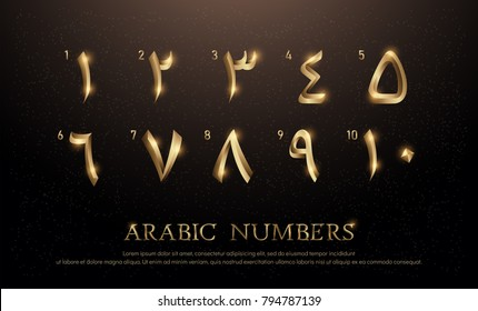 Arabian Number Font Set of Elegant Gold Colored Metal Chrome Numbers. 1, 2, 3, 4, 5, 6, 7, 8, 9, 10. vector illustrator