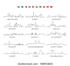 Arabian Peninsula and Africa skyline city line art, vector Illustration design