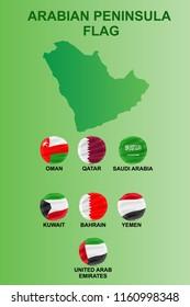 arabian peninsula flag set icon vector illustration