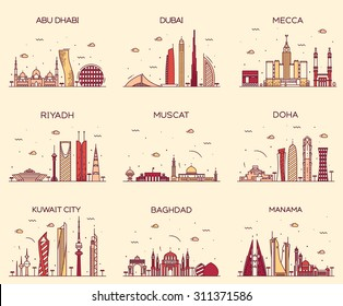 Arabian peninsula skylines detailed silhouette. Abu Dhabi, Dubai, Mecca, Riyadh, Muscat, Doha, Kuwait City, Baghdad, Manama. Trendy vector illustration, line art style.