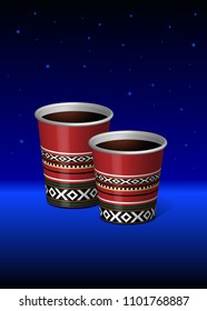 Arabian Red Saudi Traditional Sadu Theme Paper Plastic Cup Vector 3D