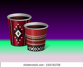 Arabian Red Traditional Sadu Theme Paper Plastic Cup Vector 3D