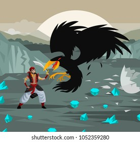 arabian sailor adventurer fighting giant bird